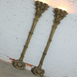 Gilded Palm Tree Torchiere Style Floor Wall Sconce Lamps After Serge Roche
