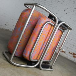 Vintage Mid-Century Modern Pullman Train Car Folding Lounge Chairs a Pair