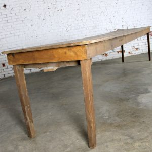 Antique Primitive Pine Harvest Table Extra Long 144 Inches