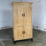 Lane Tall Cabinet in White Washed Oak on Black Steel Base