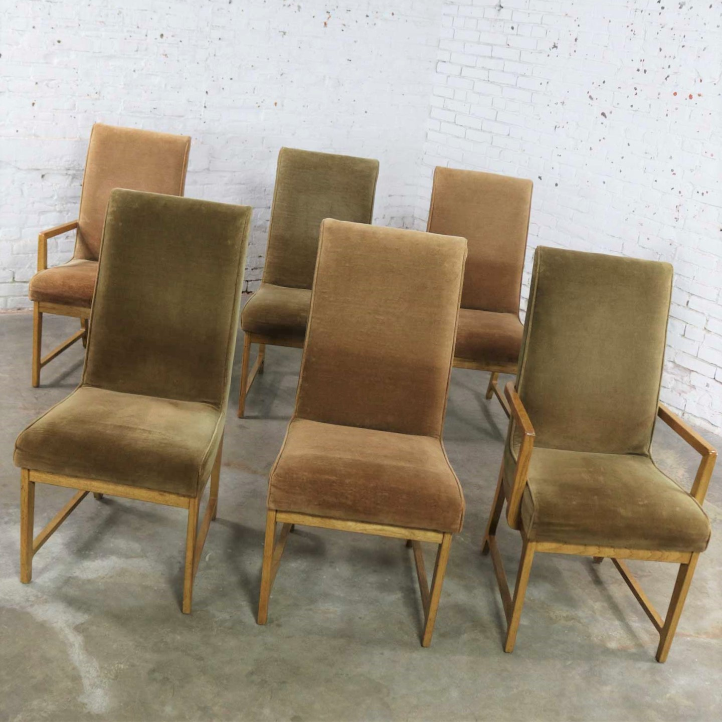 6 Modern Style Vintage Dining Chairs Velvet Scoop Seats Bernhardt Flair For Hibriten Warehouse 414