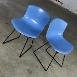 Pair Harry Bertoia for Knoll Blue Fiberglass Side Chairs Black Wire Base