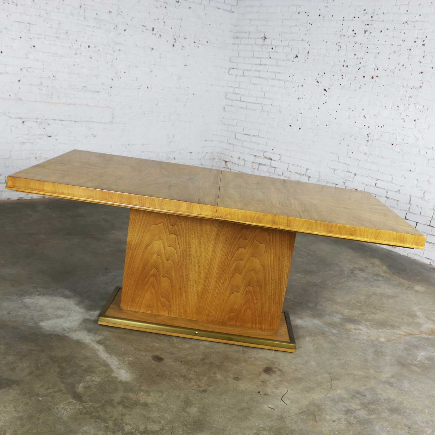 Modern Pedestal Dining Table W Brass Trim Attributed To