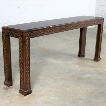 Henredon Chinese Chippendale Chinoiserie Console Sofa Table Dark Finish and Fretwork