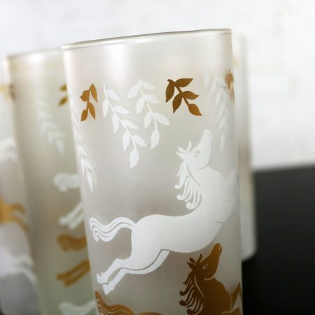 Boxed Set of 8 MCM Libbey Cavalcade Galloping Horse Tom Collins Cocktail Glasses