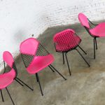 4 DKX-2 Wire Bikini Shell Chairs w/ X Bases & Hot Pink Bikinis by Eames for Herman Miller