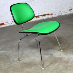 Eames Herman Miller Padded EC-127 DCM Chair in Black with Kelly Green Naugahyde