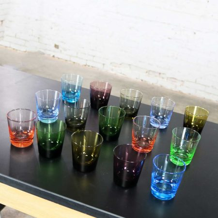 Set of 15 Multi Color Old Fashioned Glass Cocktail Tumblers