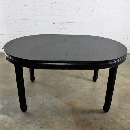Black Century Furniture Chin Hua Style Dining Table Round to Oval Hollywood Regency