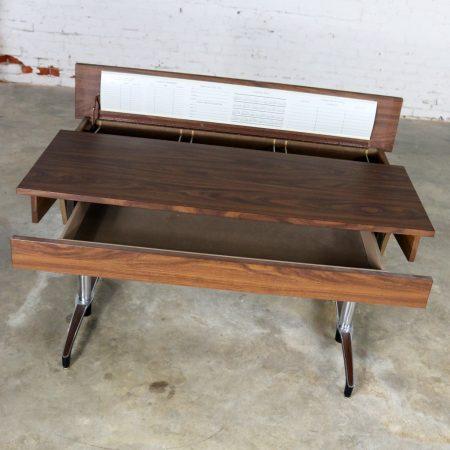 Mid Century Modern Compartment Desk Faux Wood Laminate Chrome Aluminum