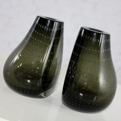 Erickson Glassworks Controlled Bubble Vase Bookends Mid Century Modern