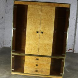 Founders Furniture Burled Wood and Smoke Glass Wall Unit Display Cabinet