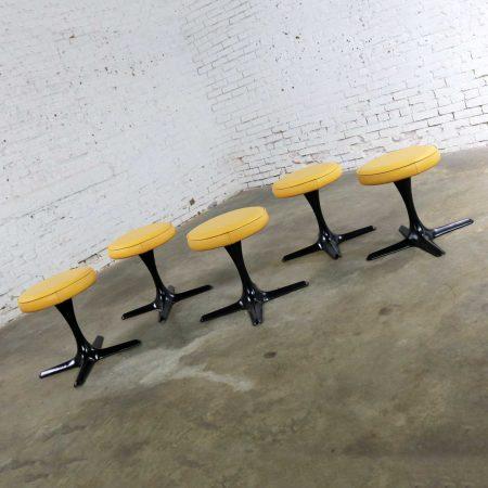 Mid Century Modern Burke Division for Brunswick Tulip Style Swivel Low Stools Set 5