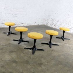 Mid Century Modern Burke Division for Brunswick Tulip Style Swivel Low Stools Set 5