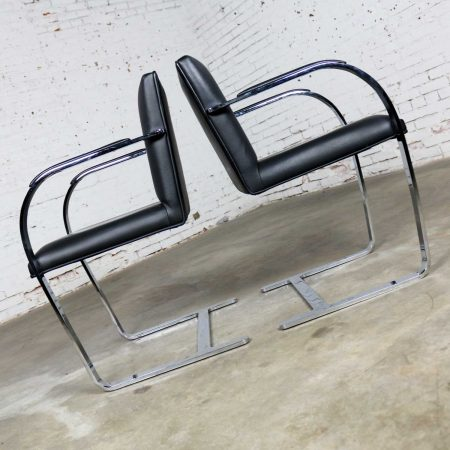 Black Leather Flat Bar Brno Chairs by Mies Van Der Rohe & Lilly Reich from Gordon Intl