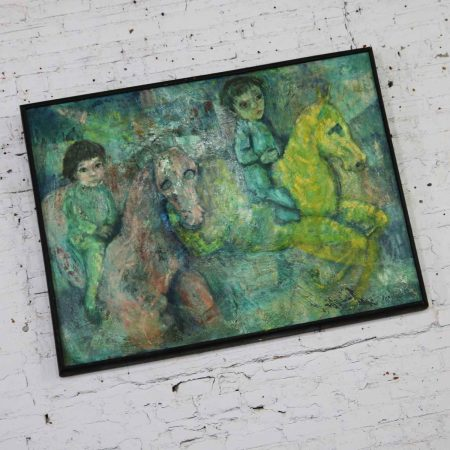 Vintage Impressionist Painting of Children on Horseback by Brooks Wolcott