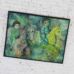 Vintage Impressionist Painting of Children on Horseback by Brooks Woollcott Powell