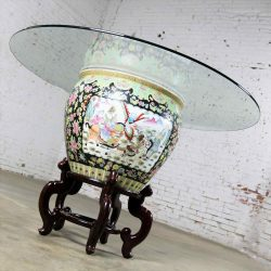 Chinese Porcelain Fish Bowl on Stand with Round Glass Top as Dining or Center Table