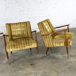 Mid Century Modern Pair of Lounge Chairs with Teak Arms & Legs & Brass Sabots