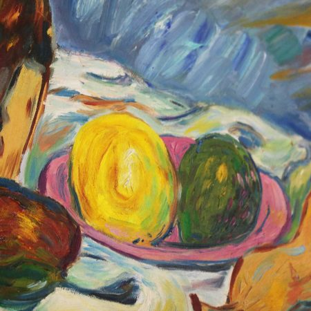 Mid Century Still Life with Fruit and Wine Bottle by Lee Tonar 1959