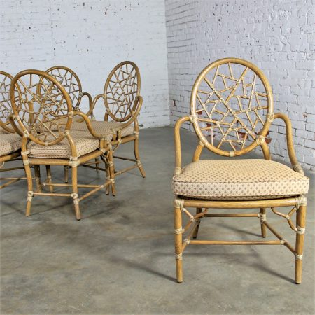 Vintage McGuire Cracked Ice Dining Chairs Rattan Set of Six