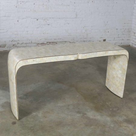 Maitland Smith Hollywood Regency Tessellated Stone Veneer U Shaped Console Sofa Table