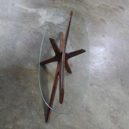 Adrian Pearsall Walnut and Glass Jacks 893-TGO Oval Coffee Table Mid Century Modern