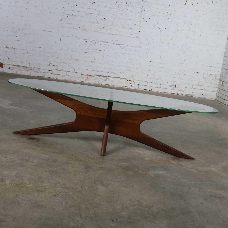 Adrian Pearsall Walnut And Glass Jacks 893 Tgo Oval Coffee Table Mid Century Modern Warehouse 414