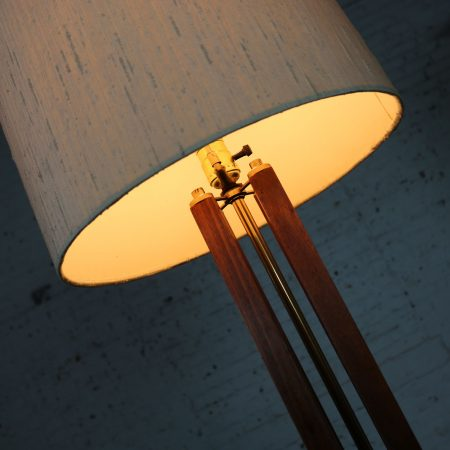 Mid Century Modern Large Scale Walnut and Brass Lamp Attributed to Laurel Lamp Mfg.