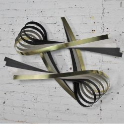 Vintage C. Jere Ribbon Wall Sculpture in Brass-Tone, Silver and Black Painted Metal