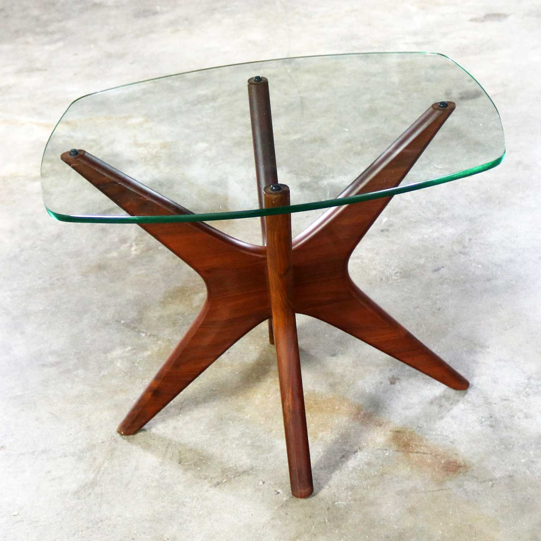 Adrian Pearsall Walnut And Glass Jacks Side Table Mid Century Modern Warehouse 414