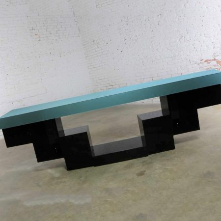 Modern Zig Zag Stepped Plexiglass Clad Console Table or Credenza in Black and Teal