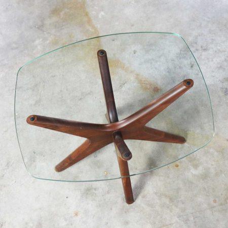 Adrian Pearsall Walnut and Glass Jacks Side Table Mid Century Modern