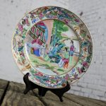 Chinese Porcelain Rose Medallion Plate Qing Dynasty