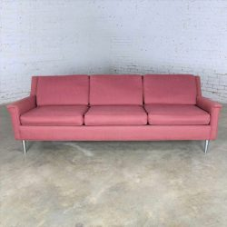 Mid Century Modern Fuchsia Sofa w/ Turned Metal Tapered Legs Style of Edward Wormley