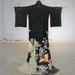 Japanese Black Silk Hand Dyed Kurotomesode Kimono with Kabuki Figures Bamboo and Plum Blossom