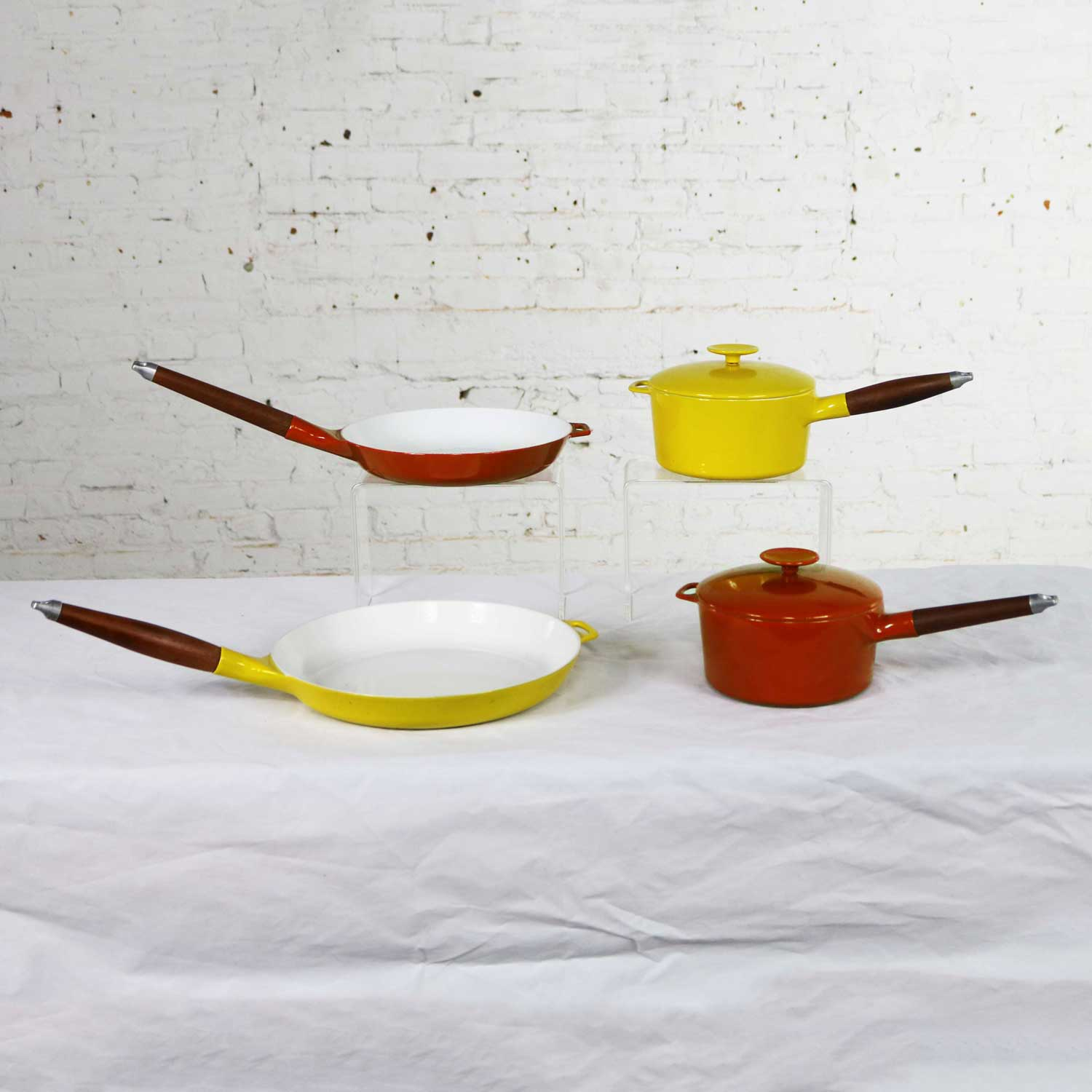 6 Pcs Mid Century Danish Modern Enameled Cast Iron Cookware by