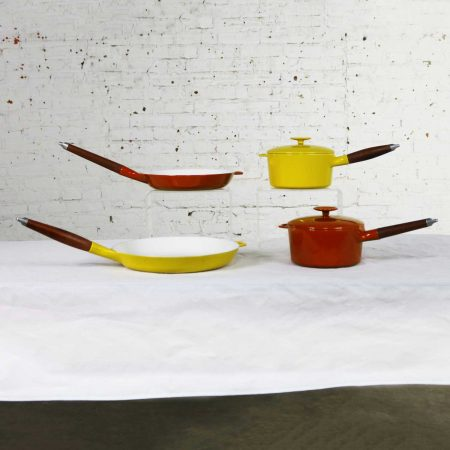 6 Pcs Mid Century Danish Modern Enameled Cast Iron Cookware by Michael Lax for Copco