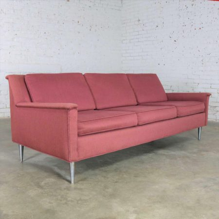 Mid Century Modern Fuchsia Sofa w/ Turned Metal Tapered Legs Style of Edward Wormley