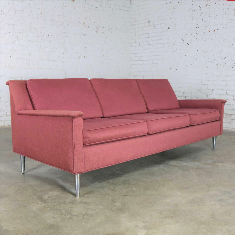 Mid Century Modern Fuchsia Sofa W Turned Metal Tapered Legs Style Of Edward Wormley Warehouse 414