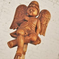 Folk Art Hand Carved Wooden Cherub or Putta on Stand