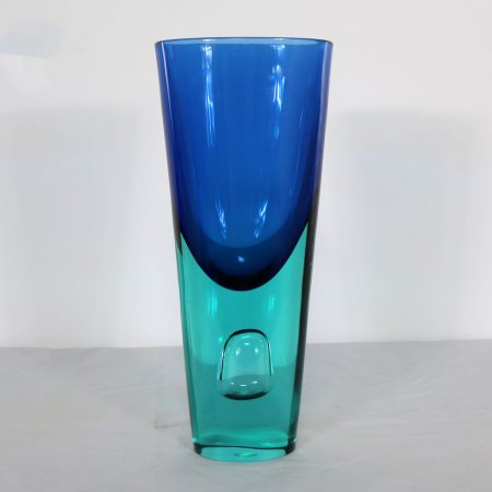 Large Murano Blue Turquoise Sommerso Bubble Vase Style Antonio da Ros for Cenedese