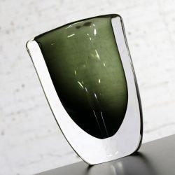 Orrefors Sommerso Vase by Nils Landberg Dusk Series Signed Smoke Gray Green