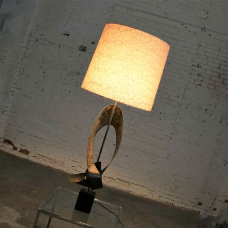 Monumental Metal Brutalist Table Lamp Attributed to Harry Balmer for Laurel Lamp Co.