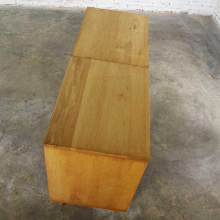 Paul McCobb Planner Group Pair Sliding Door Cabinets on Bench Platform Mid Century