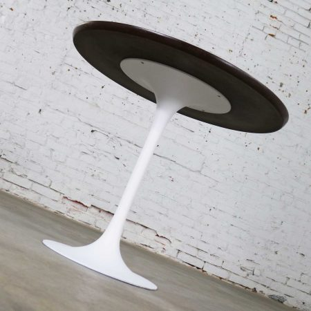 Vintage Saarinen Style White Tulip Base Table Light Woodgrain Laminate Top