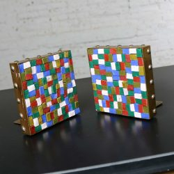 Vintage Arts and Crafts Copper and Glass Mosaic Bookends