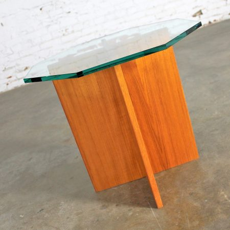 Teak X Base Octagon Glass Topped Side Table Vintage Scandinavian Modern