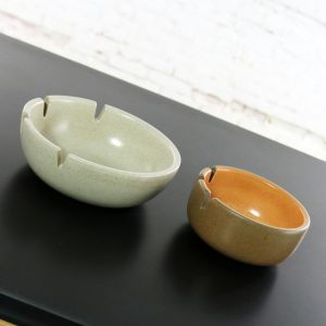 Vintage Mid Century Modern Pair Heath Ceramics Ashtrays by Edith Heath