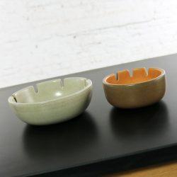 Vintage Mid Century Modern Pair Heath Ceramics Ashtrays by Edith Heath